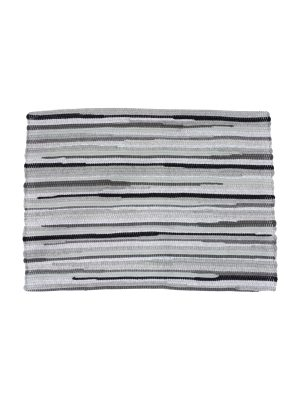 stripy grey woven cotton placemat small