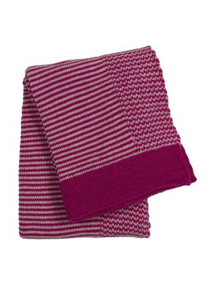 stripy pink knitted woolen little blanket small