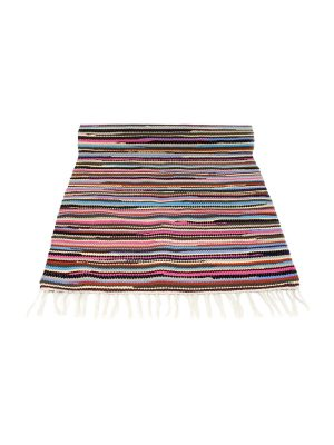 stripy  woven cotton floor runner large