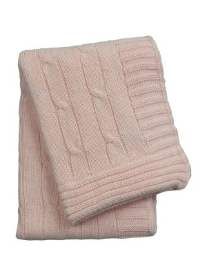 twist baby pink knitted cotton little blanket small