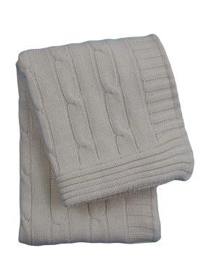 twist ecru knitted cotton little blanket small
