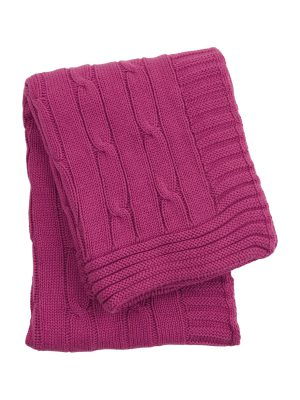 twist fuchsia knitted cotton little blanket small