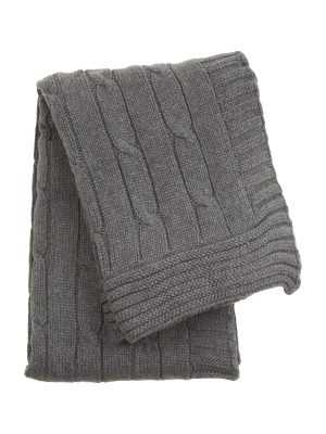 twist grey knitted cotton little blanket small