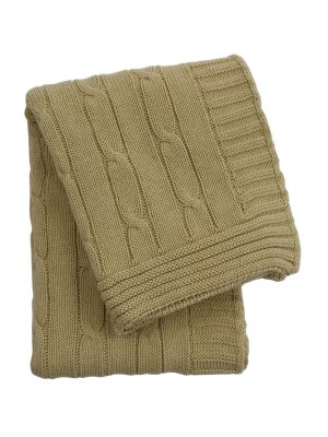 twist ochre knitted cotton little blanket small