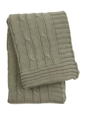 twist olive green knitted cotton little blanket small