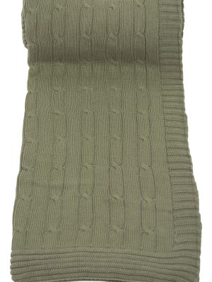 twist olive green knitted cotton plaid medium