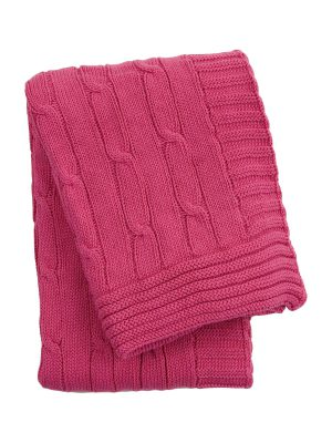 twist pink knitted cotton little blanket small
