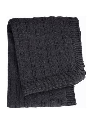 twist small anthracite knitted cotton little blanket small