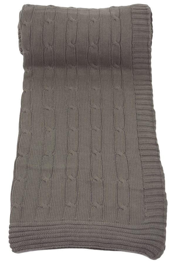 twist taupe grey knitted cotton plaid medium