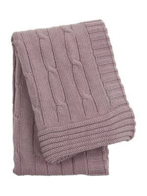 twist violet knitted cotton little blanket small