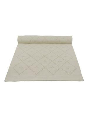 diamond off-white woven cotton floor runner large
