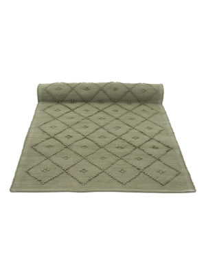diamond olive green woven cotton floor runner large