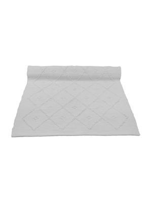 diamond white woven cotton floor runner large