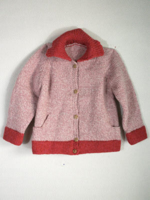 knitted woolen cardigan basic pink