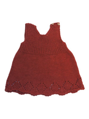 knitted woolen basic dress red 1 year