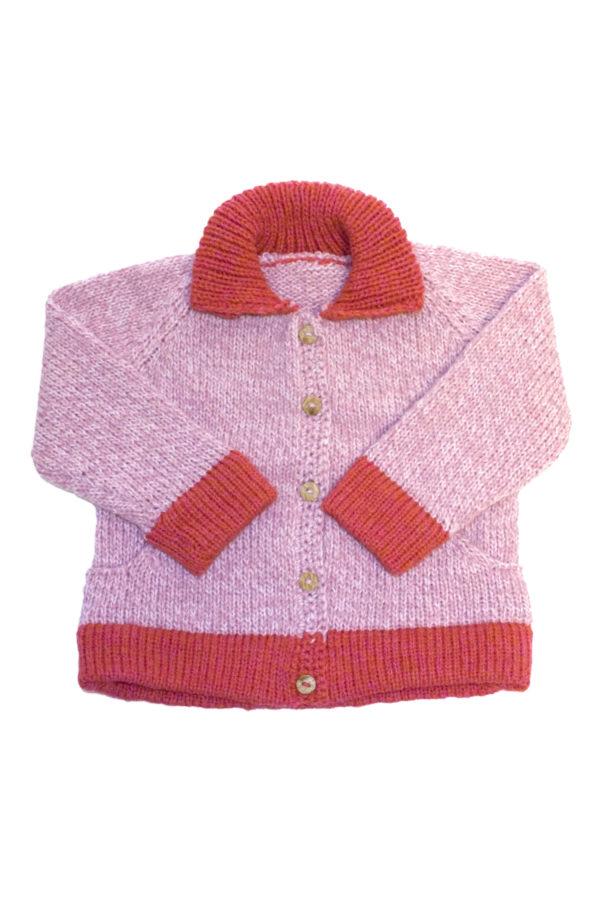 knitted woolen cardigan basic pink 1.5 year