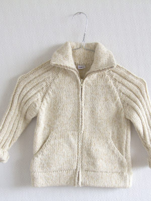 knitted woolen cardigan nordic ecru 5 year