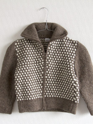 knitted woolen cardigan spots dark moss 3 year