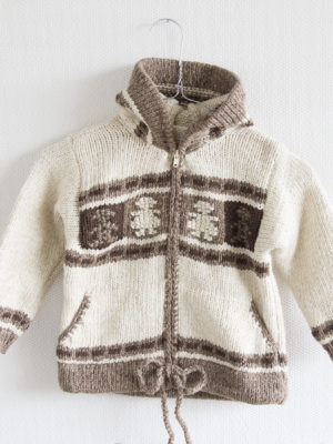 knitted woolen cardigan viking ecru 5 year
