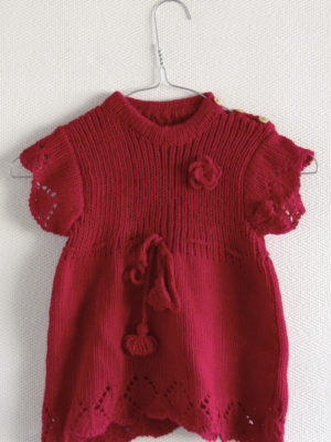 knitted woolen dress red rose 1 year