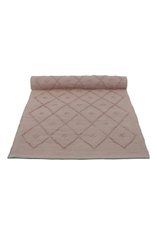 diamond powder rose woven cotton floor mat small