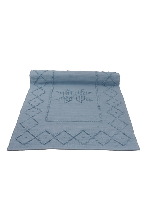 star jeans blue woven cotton floor mat small
