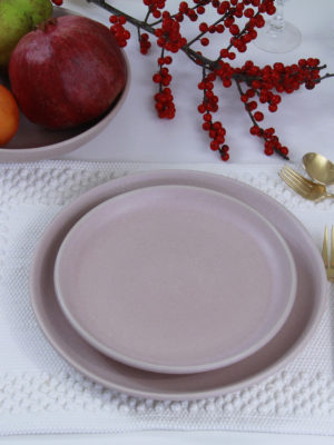 dessert plate powder rose mat ceramic xlarge