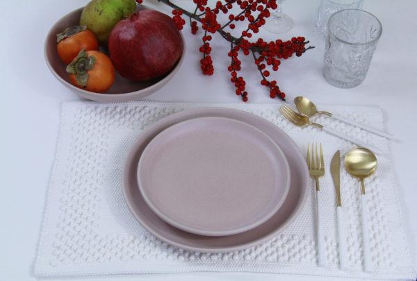 dessert plate powder rose mat ceramic xlarge