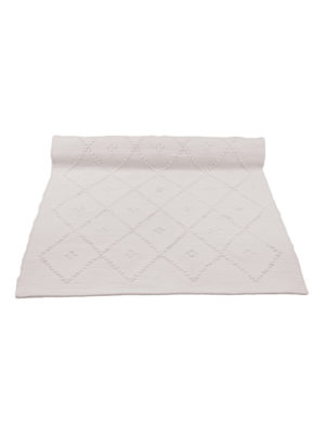 diamond champagne woven cotton floor mat small