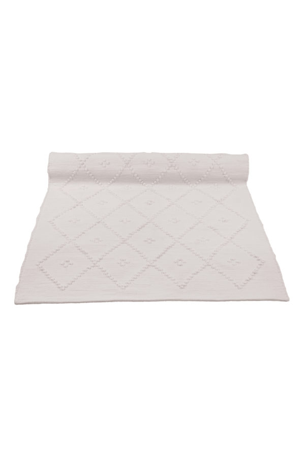 diamond champagne woven cotton floor mat small
