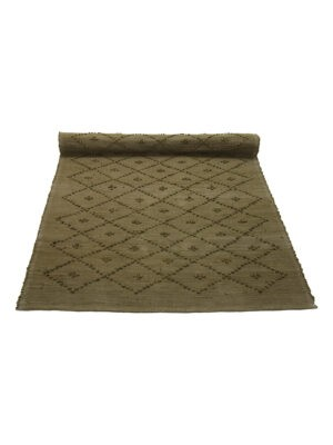 diamond olive green woven cotton rug large
