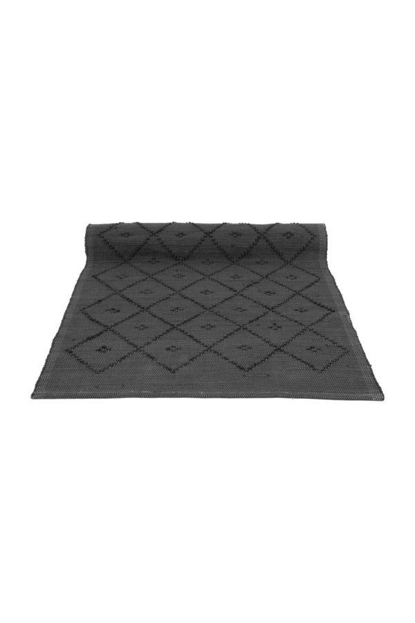 diamond anthracite woven cotton floor mat xsmall
