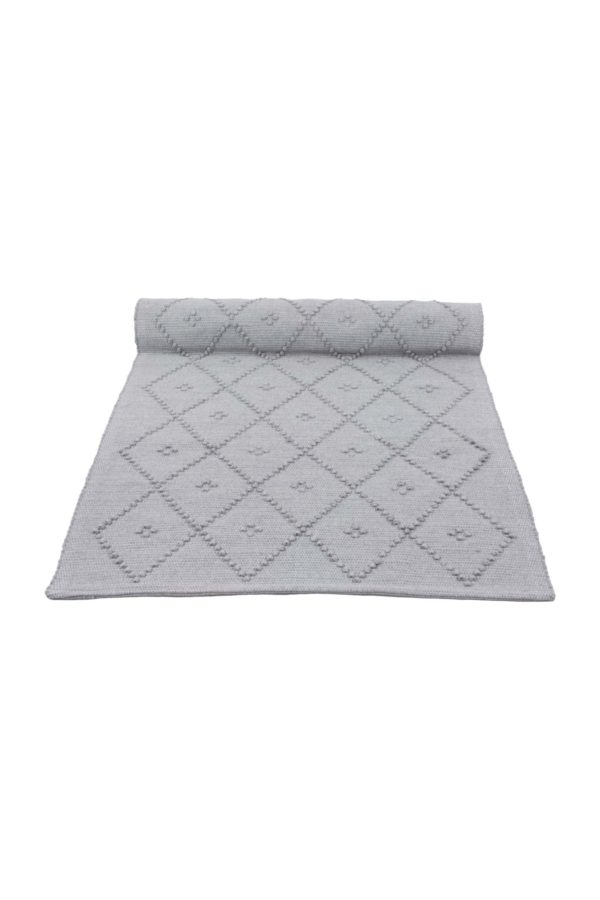 diamond light grey woven cotton floor mat xsmall