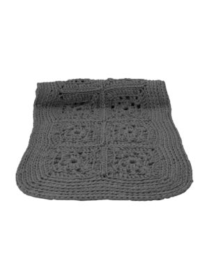 granny anthracite crochet cotton rug medium