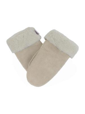 basic ecru suede sheepfur mittens (women) medium
