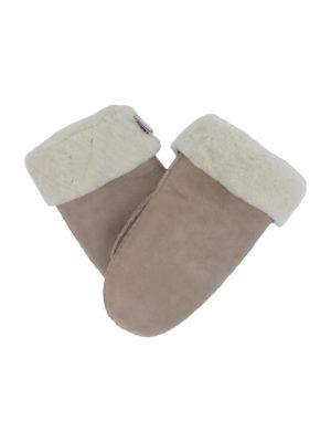 basic powder rose suede sheepfur mittens (women) medium