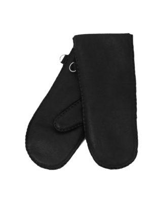 urban black nappa sheepfur mittens (men) large