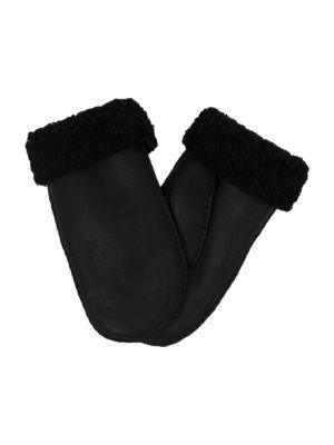 urban black nappa sheepfur mittens (women) large