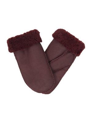 urban burgundy nappa sheepfur mittens (men) xlarge