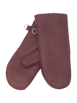 urban burgundy nappa sheepfur mittens (women) medium