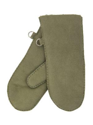 urban olive green nappa sheepfur mittens (men) large