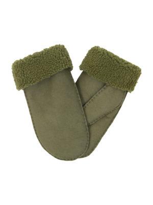 urban olive green nappa sheepfur mittens (men) xlarge