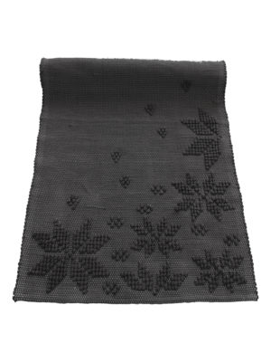woven cotton floor mat snowflakes anthracite small