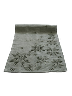 woven cotton floor mat snowflakes olive green small