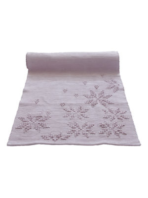 woven cotton floor mat snowflakes powder rose small