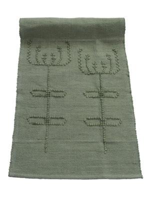 woven cotton floor mat summerflowers olive green small
