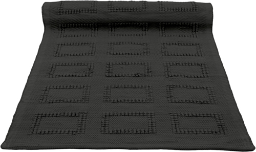 quadro black woven cotton rug medium