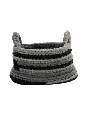 stripy grey crochet cotton basket medium
