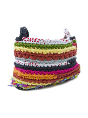 stripy mixmatch crochet cotton basket medium