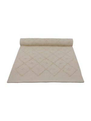 diamond ecru woven cotton floor mat 50x100cm